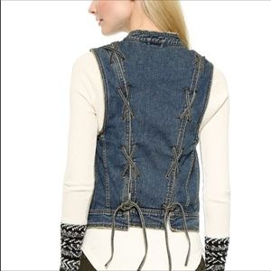 Free People rugged ripped denim vest lace up large
